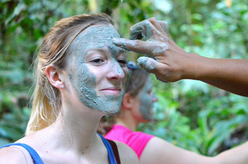 255/365 Mia from Toronto, Canada, is receiving mud facial treatment by the local Quechuan people in the jungle, Ecuador.