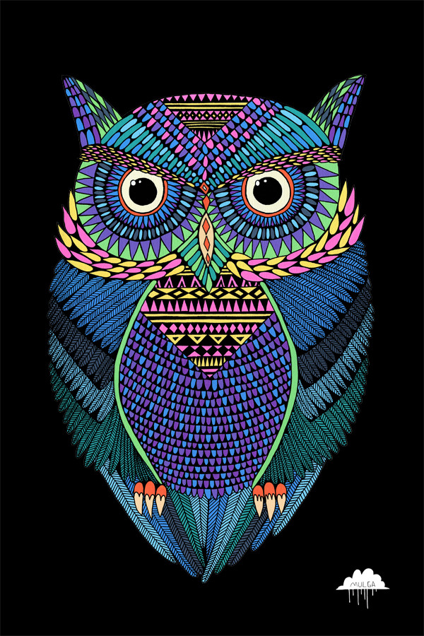 deviantart:  Michael the Magical Owl by *MulgaTheArtist Posca on Canvas, 40 x 50 cm  *MulgaTheArtist's Tumblr