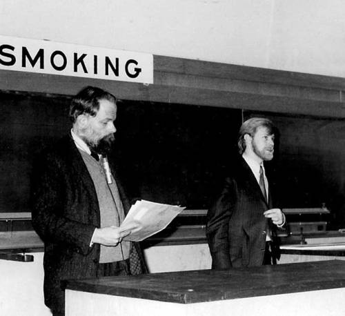 ray-gun-suitcase:  Youngish PKD giving a lecture at a university.