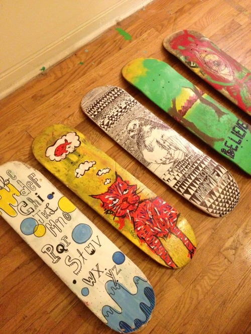 A series of skate decks painted by Patrick M. Duggan and friends!There's some really beautiful pieces to be posted within the next few days, more to come!