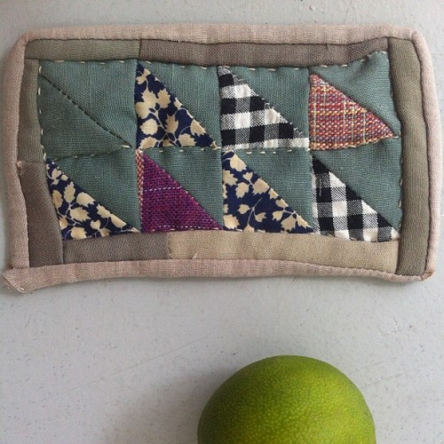 Tiny quilt, lime (for scale). #aaqi
