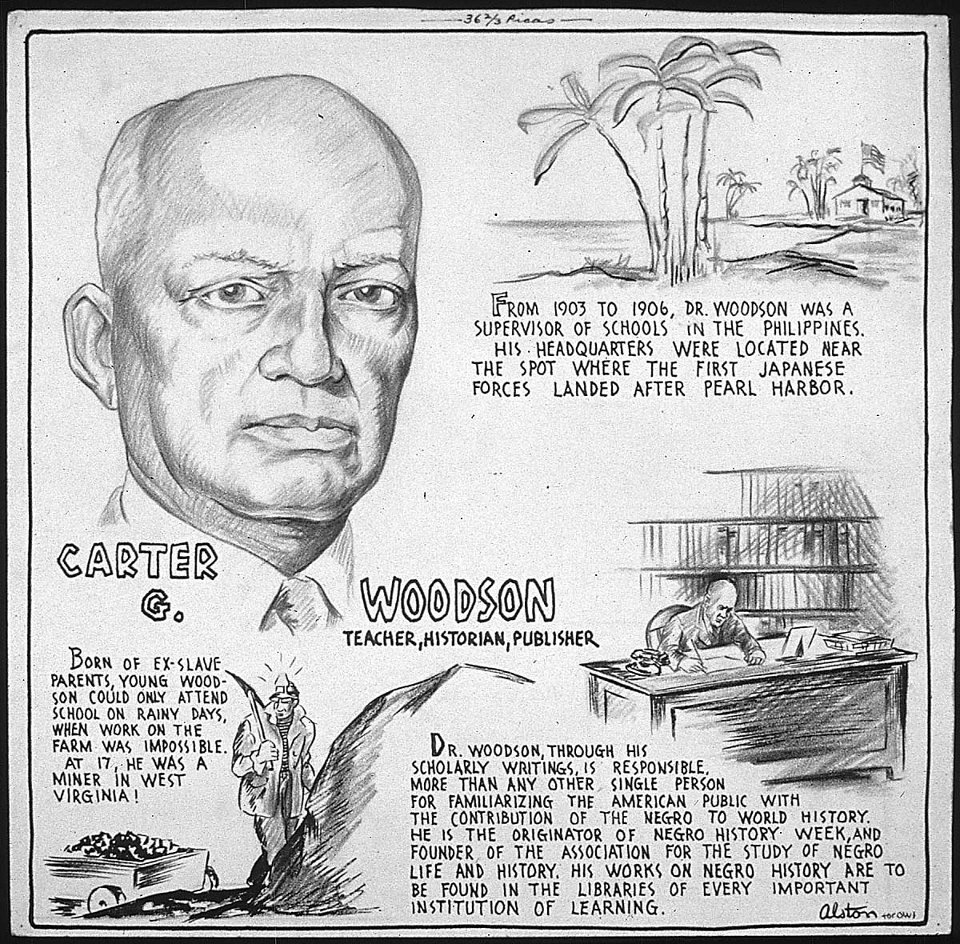 "usnatarchives:  In 1926, historian Carter G. Woodson helped create ""Negro History Week"" during the second week of February, chosen because it coincided with Frederick Douglass's birthday (February 7), as well as Abraham Lincoln's (February 12).  In 1976, the Federal government expanded the week to ""Black History Month."" Check out our newest board on Pinterest: ""Celebrating Black History Month."" Text and image via the Foundation for the National Archives. Image: ""Carter G. Woodson - Teacher, Historian, Publisher, 1943"" by Charles Henry Alston. National Archives Record Group 208, ARC 535622."