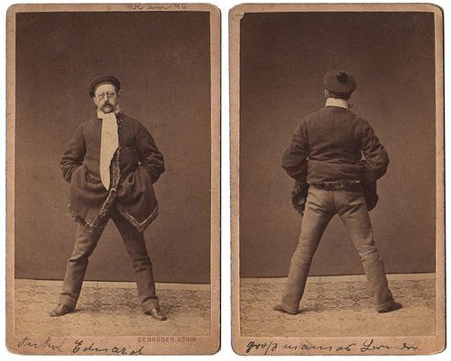 ca. 1860-90's, [two carte de visite portraits of a gentleman; front and back view] via Luminious Lint, Private Collection