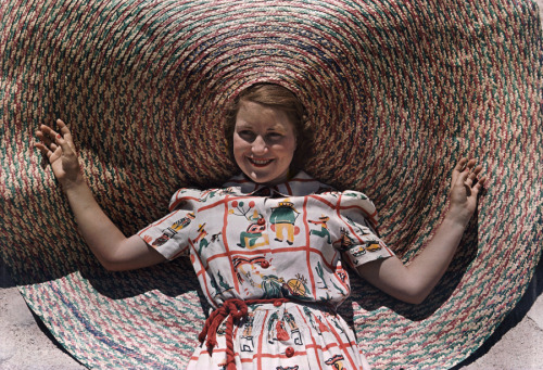 natgeofound:  A girl wears a novelty braided Texas straw hat, October 1939.Photograph by Luis Marden, National Geographic