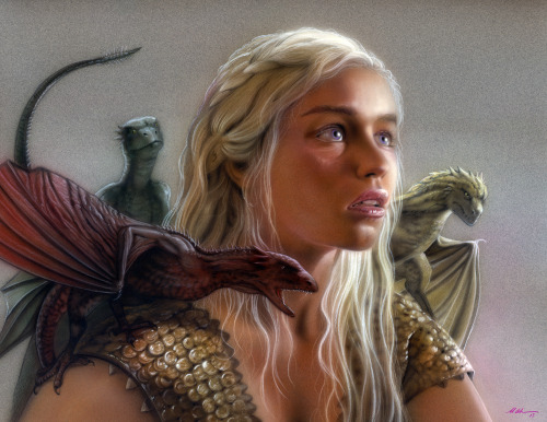 "gameofthrones:  ""Mother of Dragons"" Airbrush and colored pencil on paper by Michael Calandra 2013"
