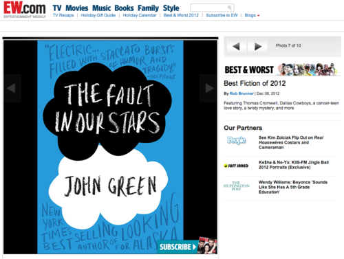 "Entertainment Weekly names The Fault in Our Stars one of the 10 best fiction books of the year, placing me in the company of people like Junot Diaz and Hilary Mantel.  I believe this is an appropriate moment on tumblr to ask, ""What is air?"""