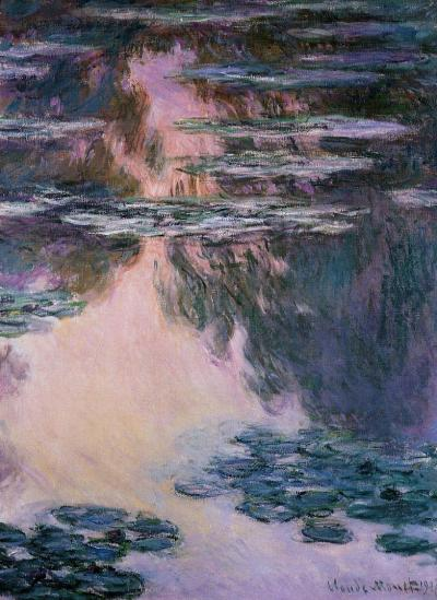 wryer:  Water Lilies  by Claude Monet (1840-1926) oil on canvas, 1907