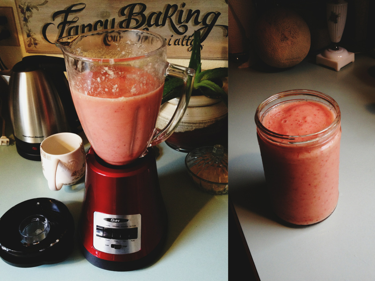 elizabeth-antoinette:  32oz banana/pineapple/strawberry smoothie for breakfast this morning.