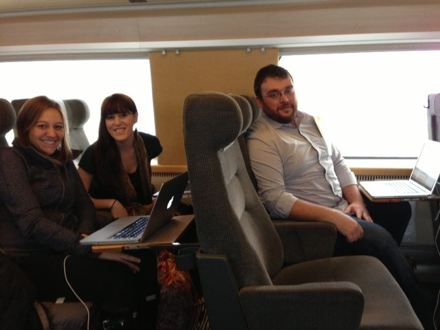 Part of Team Stockholm is making an excursion to Copenhagen—and working hard the whole way there!