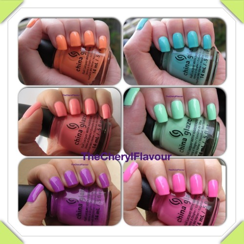 thecherylflavour:  China Glaze Neons On The Shore - Creme Swatches I have swatched the 6 creme polishes from the China Glaze Neons On The Shore collection. Check them out here!