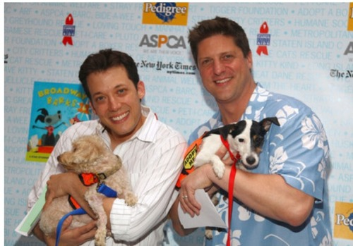 broadwaymenwithdogs:  John Tartaglia and Christopher Sieber and dogs at Broadway Barks.