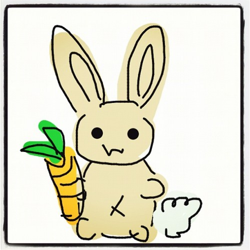 Sloppy drawing but I still thought it was #cute! :3 #bunny #drawsomething #illustration