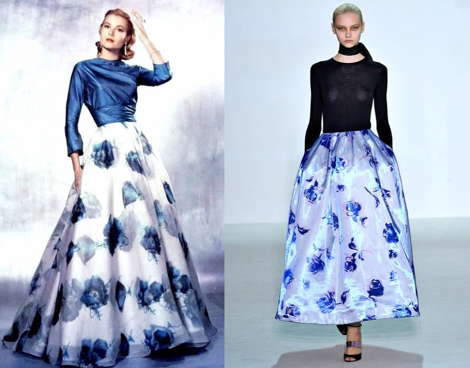 INSPIRATION Grace Kelly 1957… Christian Dior SS||2013 This wonderful picture of Grace Kelly [left] might have been on Raf Simons' inspiration board for his first Christian Dior SS||2013 ready to wear collection [right].