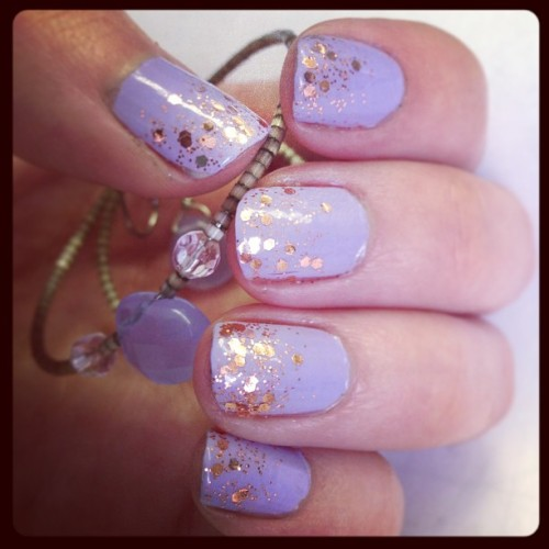 #Neon #pastel #purple #nails with a glint of #rosegold sparkle. #nailpolish #nailart #notd