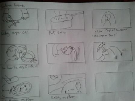 Storyboard for this weekend's 'District Nurse' shoot.(Rob James is far better at sketching than me…possibly.)
