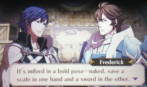 Frederick describes his Chrom fanart Frederick, swept up in his love for Chrom, created posters of the scene he explained above, and displayed them around camp. I meant to take a shot of this support convo myself but forgot to in my rush to capture more Sully photos, so shout outs to Nadia Oxford for posting this one. And while you never get to see the Chrom portrait (I'm sure someone will make it and share it online), you can check out some fun art on this Fire Emblem: Awakening Coundtown Tumblr. PREORDER Fire Emblem: Awakening (Feb 4), other upcoming games