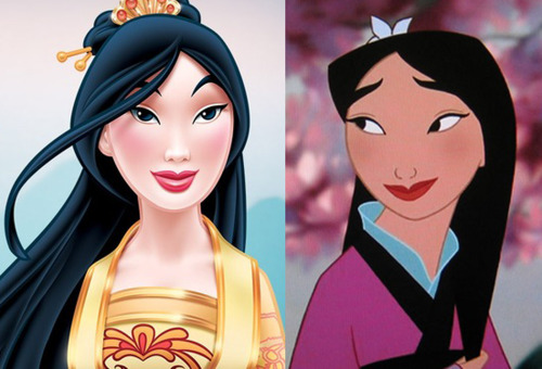 Left is re-imagined Mulan, right is still from Mulan film. Pretty drastic difference, not only in the color of her skin, but also in the shape of her features (new lips are fuller, new face is slimmed and longer). The new Mulan's eyes now seem to have a blue highlight, making them look like Western blue eyes. Hmm… [submission with a closer shot]