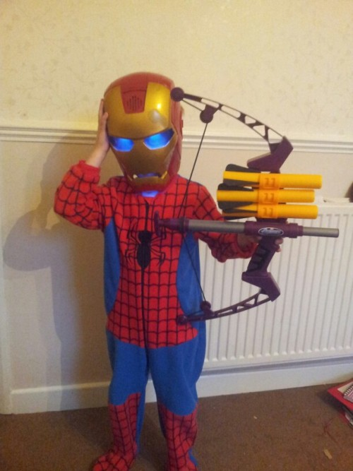 My Xander Christmas day morning, he is Iron Spider Hawk Eye Man