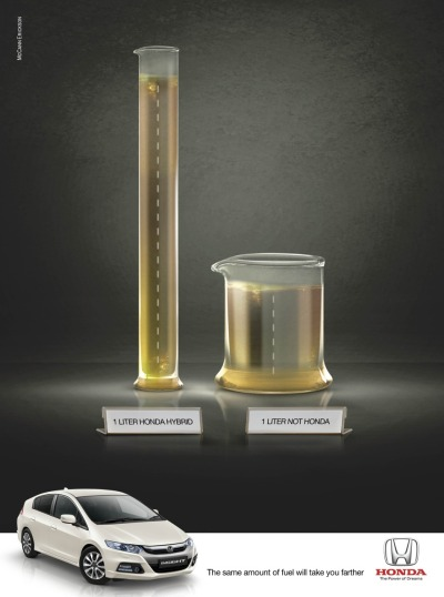The same amount of fuel will take you farther. Honda Hybrid Ad by McCann Erickson