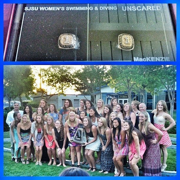 SJSU Women's Swim/Dive Team 2X WAC CHAMPIONS … They didnt get all dressed up for nothing. Congrats ladies! So honored