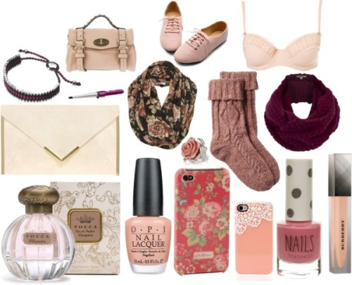 Eleanor inspired pink/purple items by ieleanorcalderstyle featuring cath kidstonShelf bra / Fat Face cable knit socks, $16 / Ballet shoes / Mulberry mini shoulder bag / ASOS envelope clutch / Links of London bangle bracelet / River Island flower jewelry, $13 / Jigsaw wool shawl, $89 / Black scarve / Cath Kidston , $40 / Tech accessory / Burberry  / Tocca  perfume / Topshop , $120 / BaByliss , $35 / OPI  nail polish