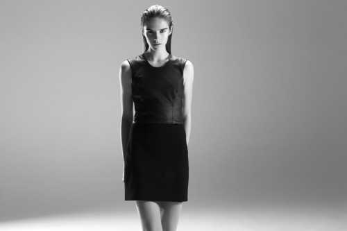 BLACK CONTRAST Introducing the Gala Knit x Leather Dress.