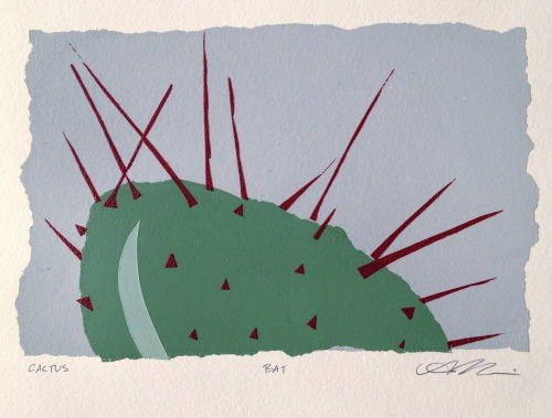 """Cactus"" A very quick screen print using wax paper and contact paper"