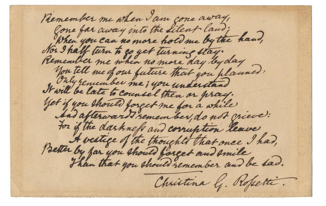 "poetrysince1912:  ""Remember"" by Christina Rossetti. Read the poem and find more expensive poetry manuscripts at Book Patrol (this one went for £33,650)."
