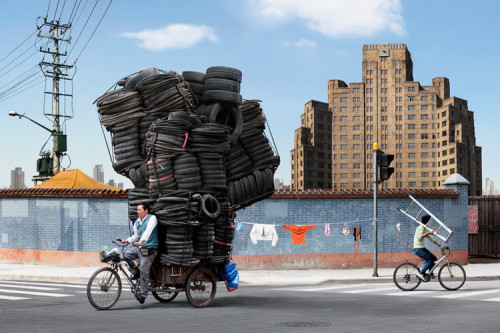 poptech:  Fast Company has some craaaazy photos of Chinese workers moving impossible amounts of stuff. On bikes.