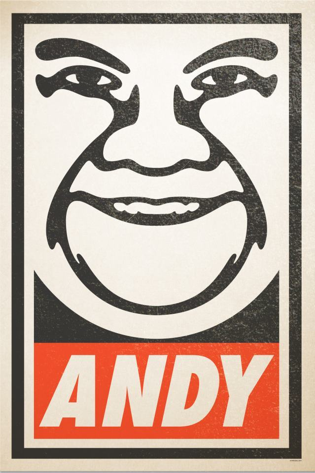 comedynerdsunited:  OBEY ANDY by Steve Dressler on display at Coco MoCA. (teamcoco)  Awesome! Thanks for all the love!