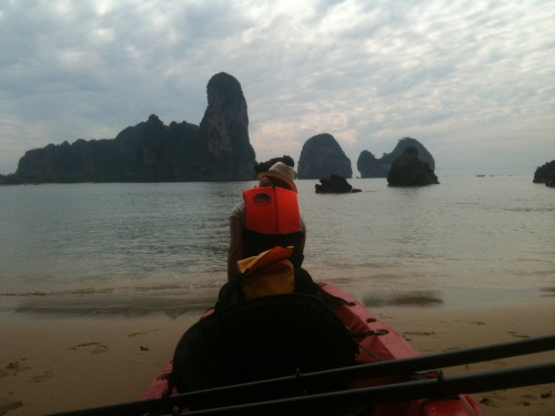 Somewhere outside of Krabi, extreme kayaking on calm seas