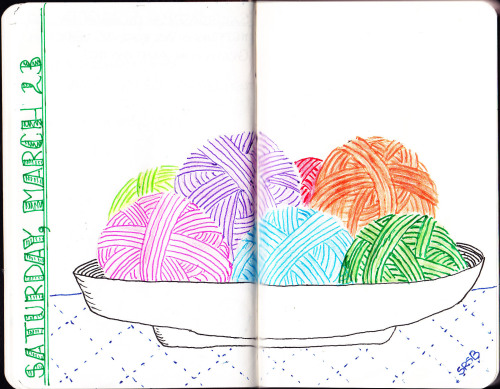 "moleskinelovers:  ""Bowl of Yarn"" was done in colored pencil and gel pen. See more of my work at shaybrugger.tumblr.com and sheepishanimator.tumblr.com"