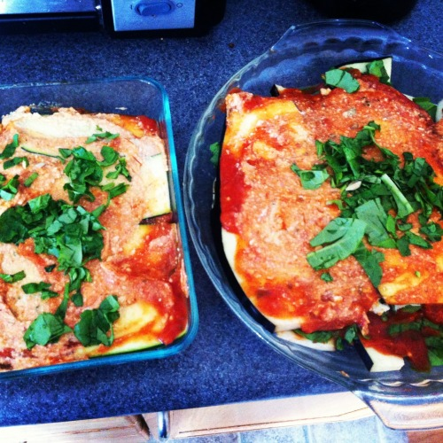 Made a vegan lasagna today. Here is the recipe :) The Lasagna:Zucchini EggplantTomato SauceSpinachCheese:1 cup soaked raw cashewsMinced Onion & GarlicTB of AvacadoSalt and pepperWater (till help blend)* Blend till creamy*- Preheat oven to 350 - Cut zucchini and eggplant in long slices and place in a baking dish sprayed with a non-stick cooking spray. - Begin layering eggplant, zucchini, sauce, cheese and spinach- Bake for 15-30mins- Its ready when you can stick a fork through easily