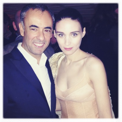 Rooney Mara and Francisco Costa. (She just finished telling him how much she loves wearing his dresses because they fit her so perfectly.)