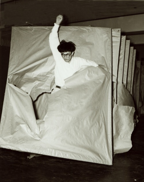softpyramid:  Murakami SaburoPassing Through 1956Performance view at the 2nd Gutai Art Exhibition, Ohara Kaikan, Tokyo, c. October 11–17, 1956.