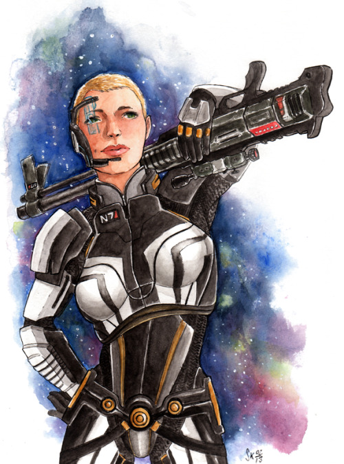 I got a sudden urge to draw my 4th commander Shepard. I though Billie Piper when generating her looks.