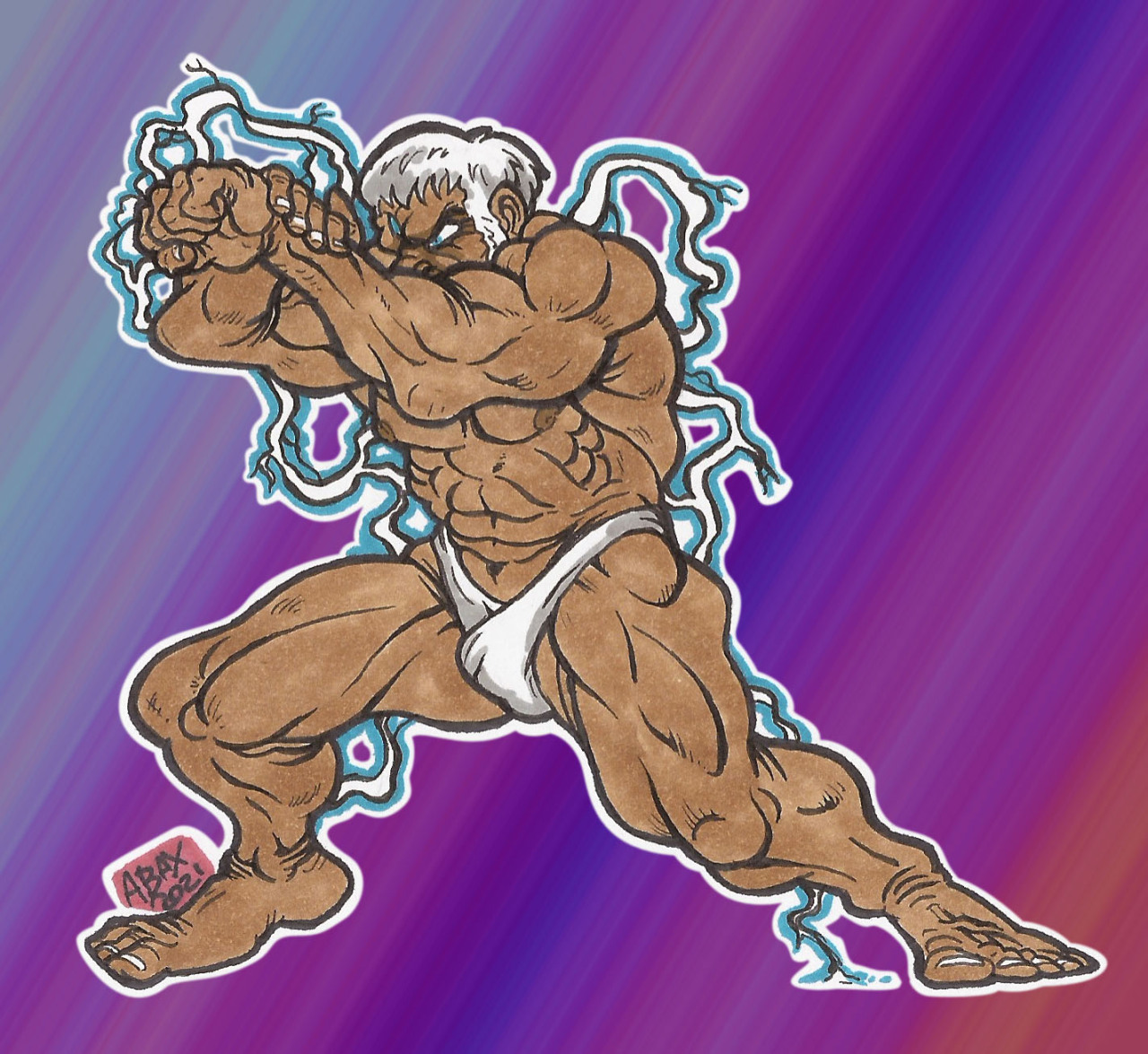 sf3 urien_Doodle_aug2021_01Here is a little doodle of Street Fighter Urien, he debut in the 3rd revision of Street Fighter 3, he is Brother to the main boss Gill and hopes to usurp his throne one day as head of the illuminati. Urien has power over lightning and metal I believe while his brother has fire and ice at his finger tips, here I drew him charging up for his projectile attack, metallic sphere I believe.  I was always very impressed with Uriens sprite work and indeed all the street fighter 3 sprite art when i saw it back in the late 90s, its widely considered the finest sprite art of its era, so yeah here is my little tribute to an awesome game, Enjoy! #warrior#urien#third#strong#strike#street#metallic#reflector#muscles#sprite#lighting#aegis#fighter#fighting#game#capcom#beat#dude#buff#iii#3#up#em#2d#sf#streetfighter