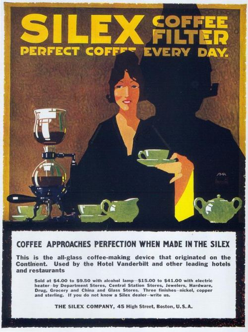 "SMR, Silex Coffee Filters, 1917  Signed ""SMR"".  From Taschen's ""All-American Ads 1900-1919""."