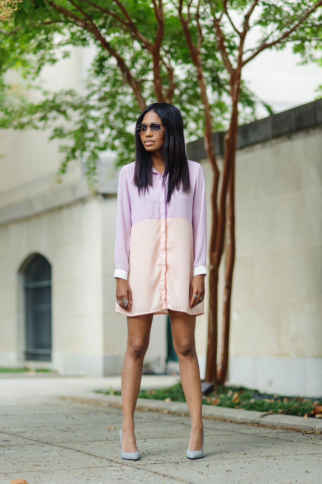 Tia Nicole (Baltimore) Four One OH! Miss Guided Shirt Dress // Jeffrey Campbell Dulce Heels