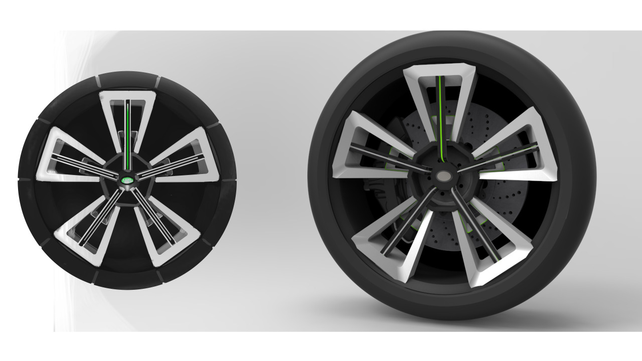 Land Rover wheel dev.Render + Sketch model.
