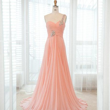 dress floor length gorgeous gown beautiful gems peach Prom