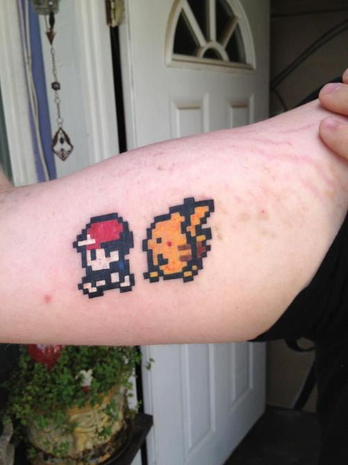 This is my second tattoo. Been wanting this one since I had the Pikachu edition of GBC. =p
