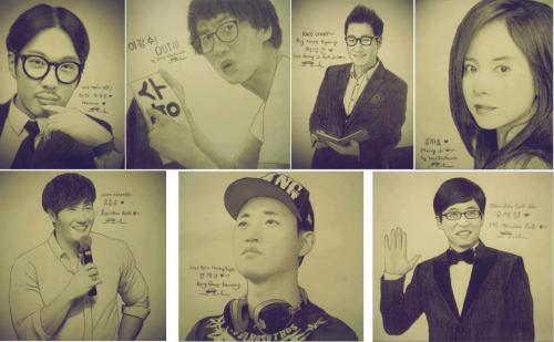 joan-loves-rm:  This is an awesome sketch!!Really DAEBAK!!I don't know who is the drawer but i took this from, Kim Jong Kook and 2 Kids Gary & HaHa (Running Man)
