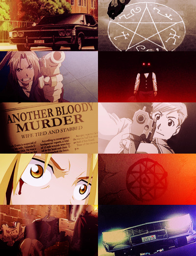 "knightdress:  Fullmetal Alchemist AU - Supernatural.  ""Dad's passed it on to us. I think he wants us to pick up where he left off. You know, saving people, hunting things. The family business."