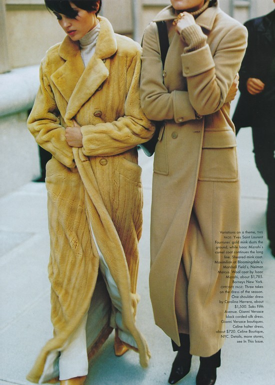 "80s-90s-supermodels:  ""It's A Long Story"", Vogue US, November 1996Photographer : Mario TestinoModels : Chandra North & Nadja Auermann"