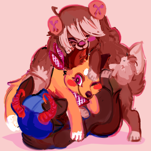 irobon:  i wanted 2 draw doggies  THIS IS ADORABLE THE POSING AND THE COLORS AND EVERYTHING OMG LEAF I JUSTWHAOOOOOOOOOOOOAOOAOAOAOAAO!!!!!!! YOU ART IS SO FUN OMGthis is so amazing omg thank you thank you WE ARE ALL JUST A BUNCH OF DOGGY FRiENDS