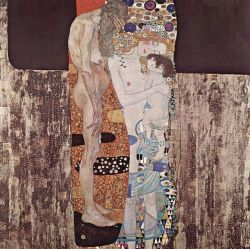 Gustav Klimt (1862-1918), The Three Ages of Woman, 1905, Galleria Nazionale d'Arte Moderna, Rome.  It's interesting to note that most reproductions of this painting focus solely on the mother and child, eliminating the older figure and completely changing the context of the image. Klimt explored the passage of time, and the cycle of life to death throughout his work, and this is another example of that theme.