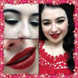 Today's makeup: vintage-y simple eyes and sparkly red lips. #makeup #lookoftheday #redlip #sprakle #glitter #mac #rubiwoo #coastalscents #softcurls #hair #vintage #mua #eyeshadows #pretty #lotsahashtags #loldontcare #nofilter