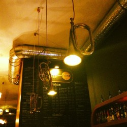 Awesome trumpet light fixtures in a Budapest ruins bar…