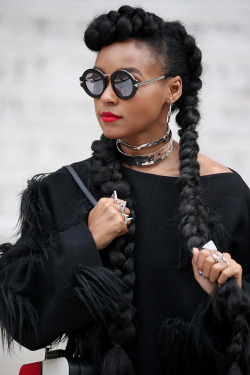 celebritiesofcolor:Janelle Monae attends Stella McCartney show at the Opera on October 5, 2015 in Paris, France.